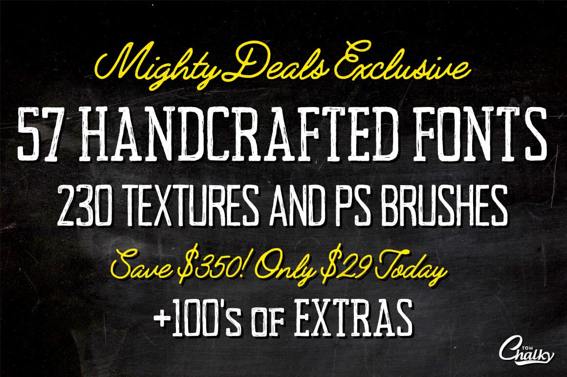 57 Handcrafted Fonts, 230 Textures & 100s of Design Extras - only $29!