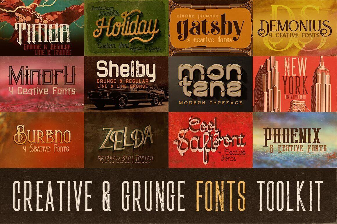 The Creative & Grunge Font Toolkit (12 font families) -  only $19!