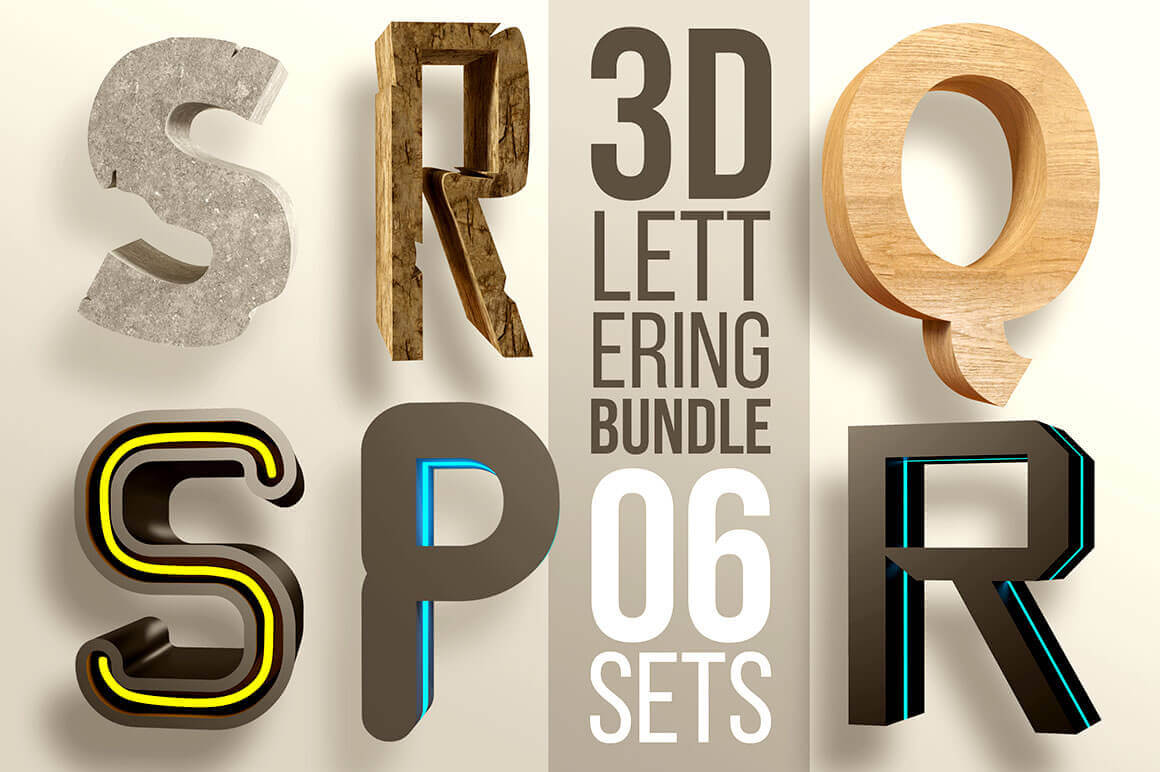 3D Lettering Mega Bundle with Extended License - only $12!