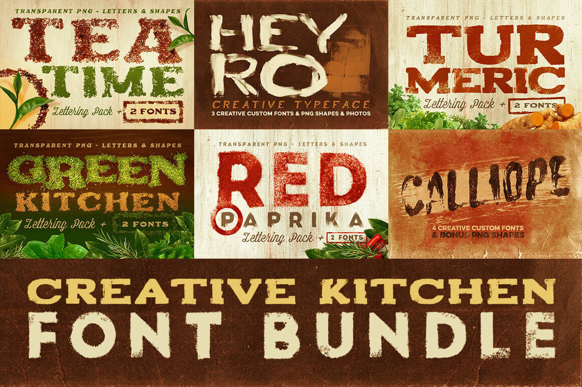 Creative Kitchen Font Bundle: 6 Delicious Font Families + Extras - only $18!