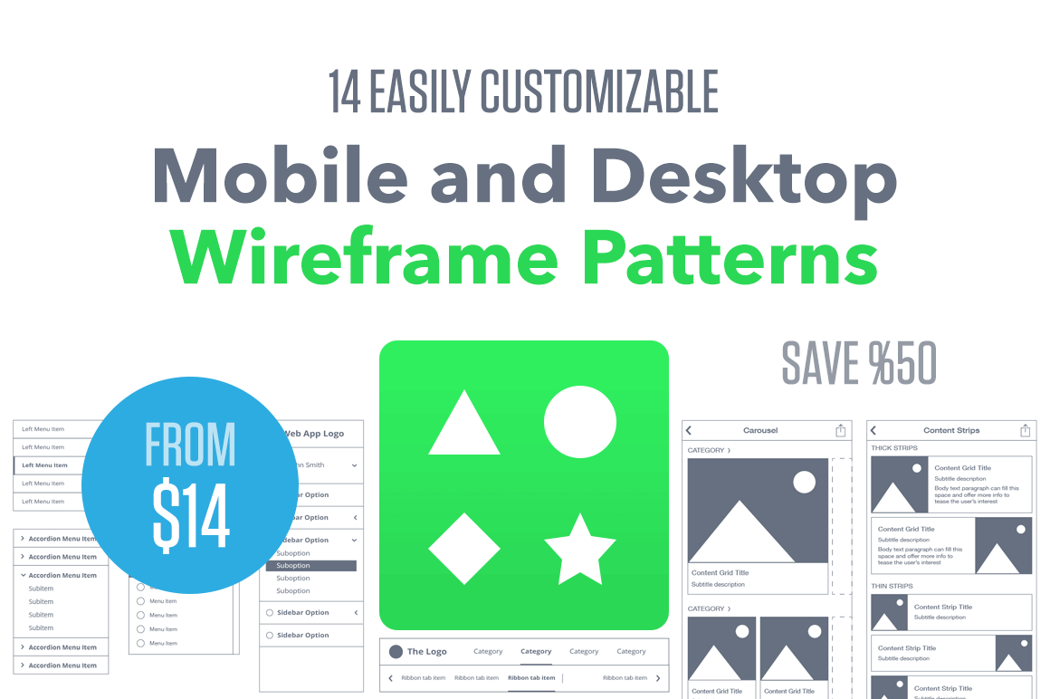 14 Easily Customizable Mobile and Desktop Wireframe Patterns - 50% off!