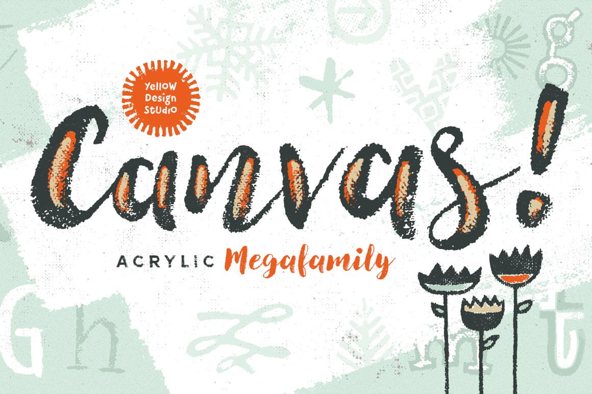 Canvas Acrylic Megafamily: 39 Unique Typefaces - only $19!