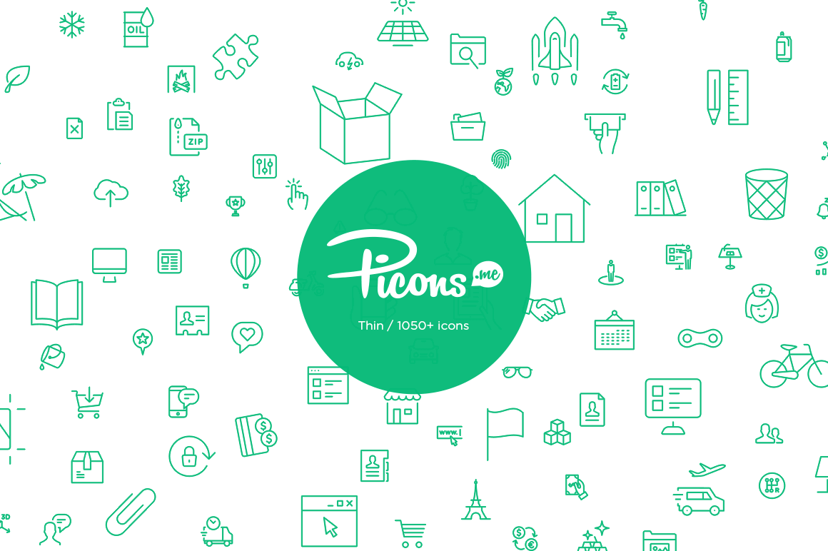 Picons Thin: 1050+ Premium Vector Icons - only $29!