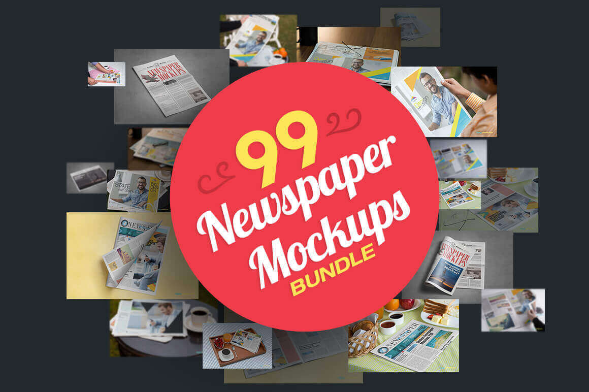 99 Hi-Res, Photo-Realistic Newspaper Mockups - only $16!