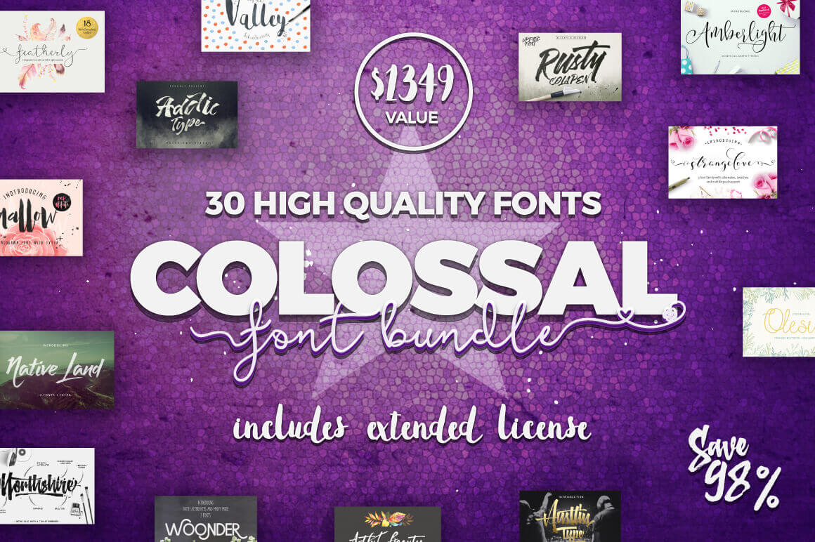 COLOSSAL Font Bundle (30 Fonts with Extended Licenses) -  only $29!