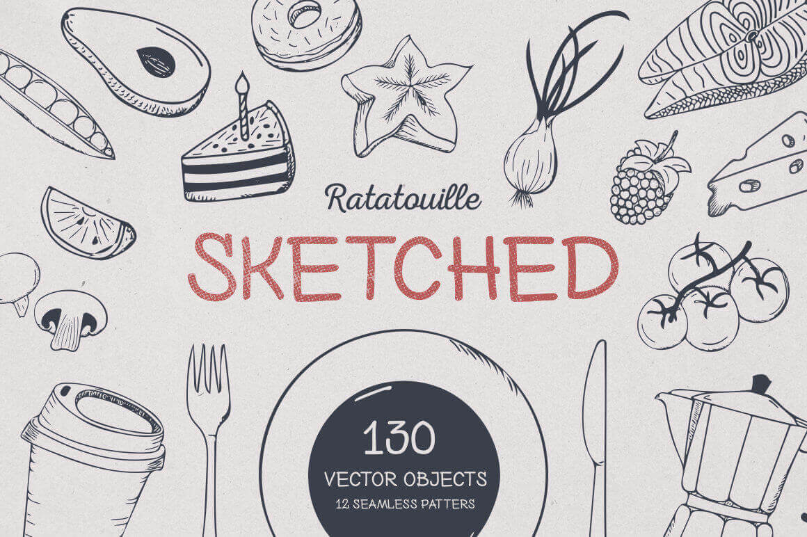 Ratatouille Sketched: 130+ Hand-Drawn Vector Elements - only $7!