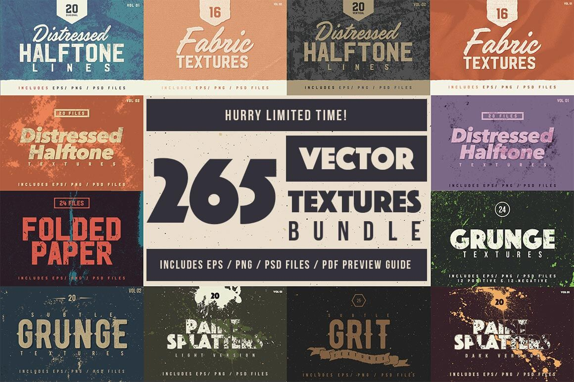 Bundle of 265 High Quality Vector Textures - only $24!