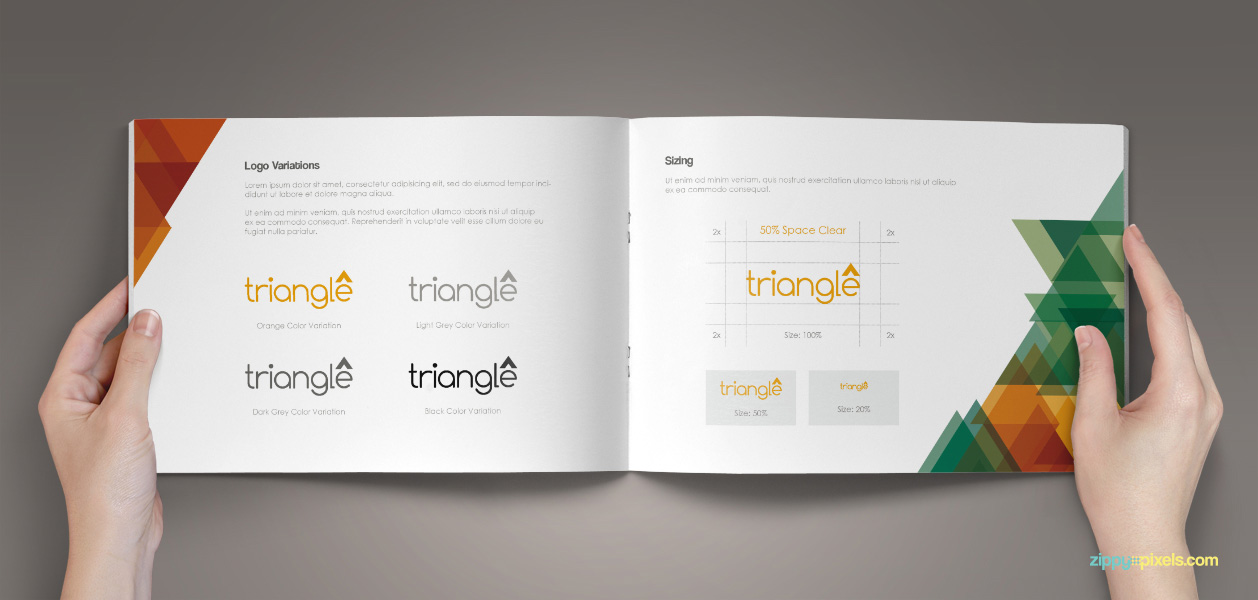 Brand Guidelines Template Pdf | 08 brand book 9 logo variations sizing