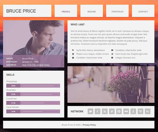 Personal website templates jobproposalideas com personal for Personal resume website templates free download