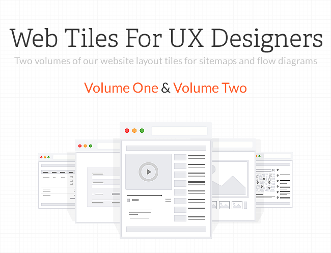 100 UX Web Tiles for Flow Diagrams and Sitemaps for 80% off