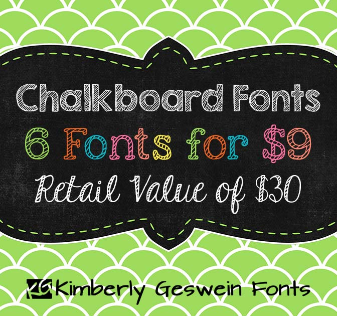 Chalkboard-Style Fonts: 6 Fun Fonts for only $9!
