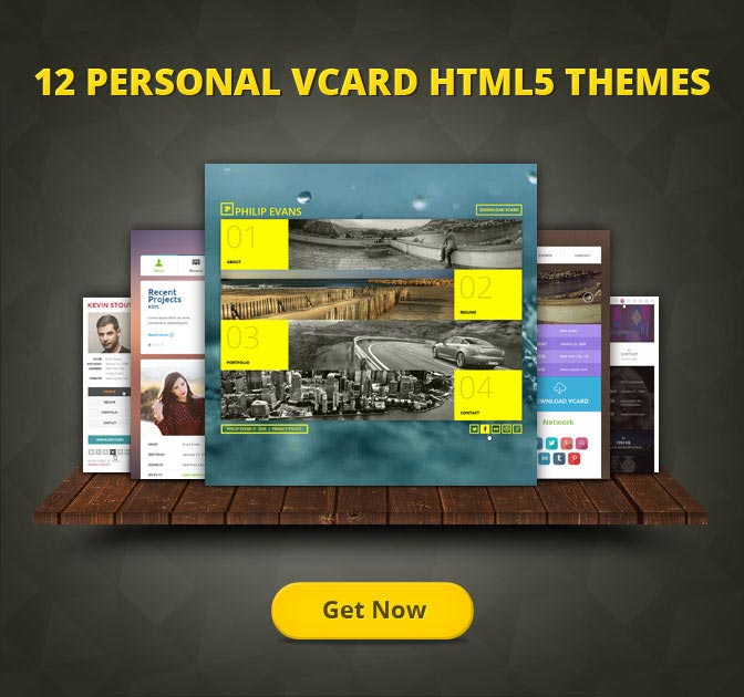 12 Personal vCard HTML5 Templates from Flashmint - only $19!