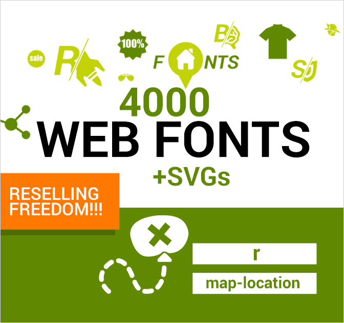 4,000 Icon Web Fonts + SVGs (with Reseller License) - from only $35!