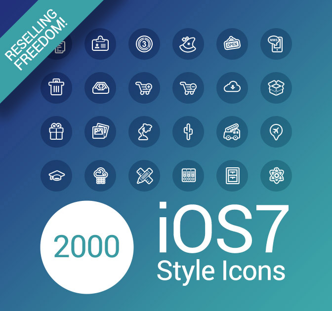 2,000 iOS7-Style Icons With Reselling License - only $17!