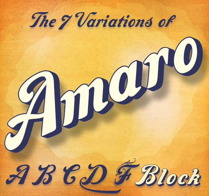 Handmade, Decorative Amaro Font 7 versions - only $12!