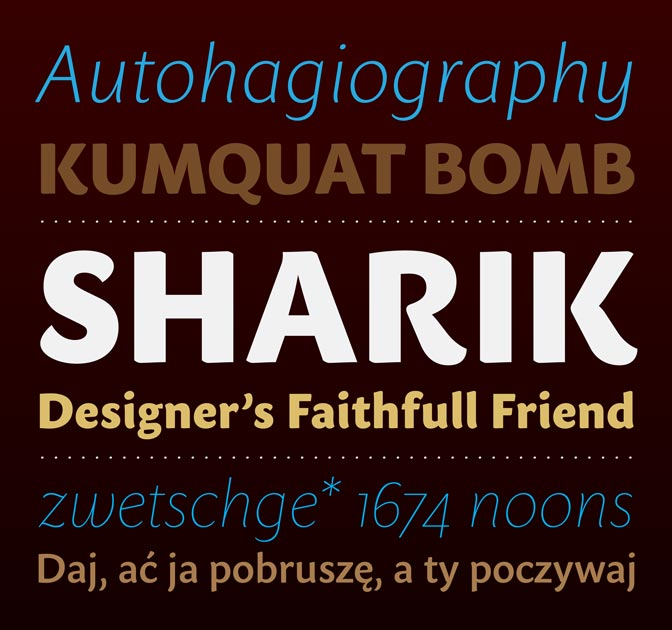 Dada Studio's Sharik Sans Typeface (9 weights) - only $24!