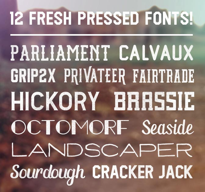 12 Fantastic Font Families from Fresh Pressed Fonts - only $29!