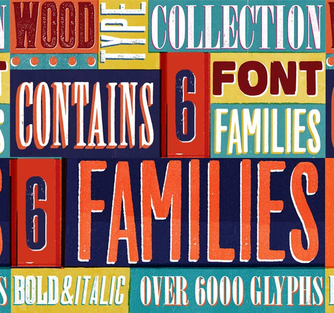 Wood Type Font Collection, 6 Families - only $9!