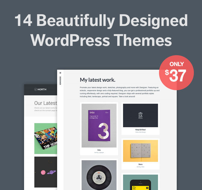 14 Minimalist Responsive WordPress Themes by Array - only $37!