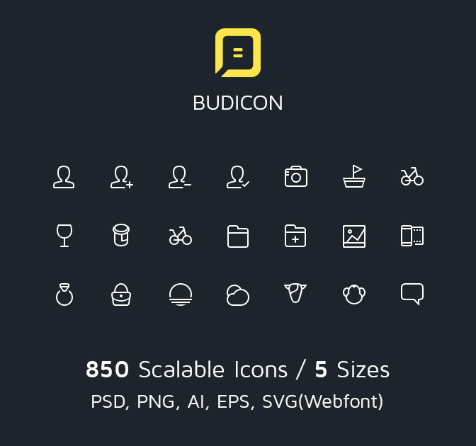 Budicon, 850 Scalable Vector Line Icons - only $17!