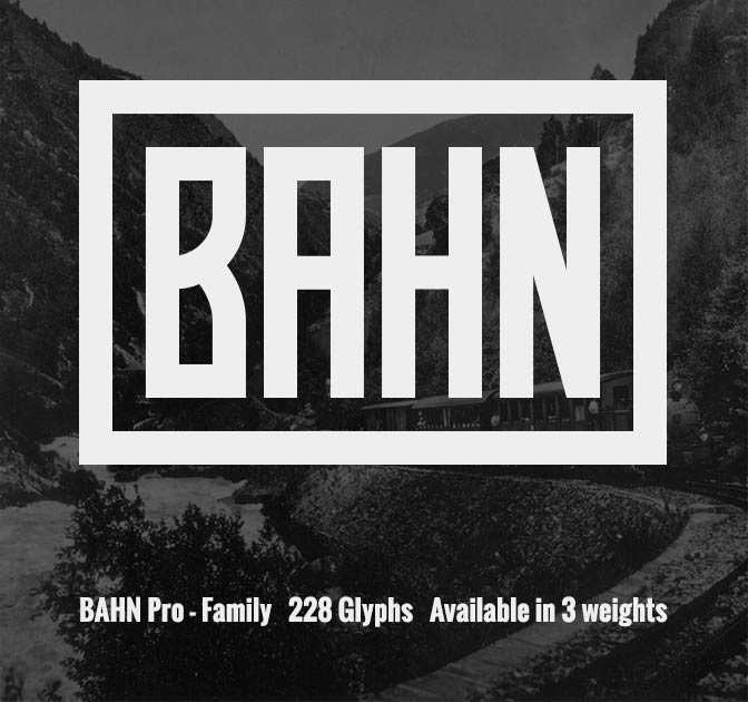 Bahn Pro Font Family (228 glyphs, 3 weights) - only $9!
