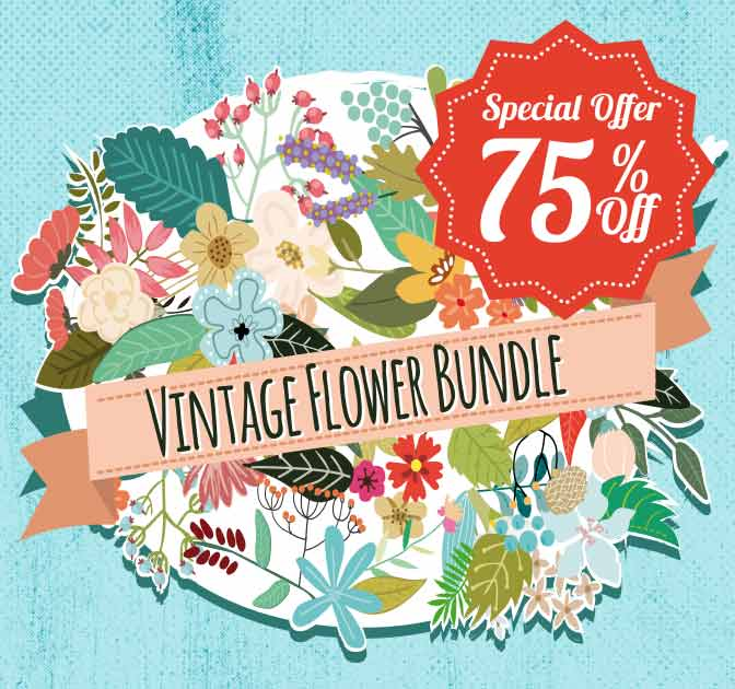Beautiful Vintage Flower Graphics Bundle - only $14!