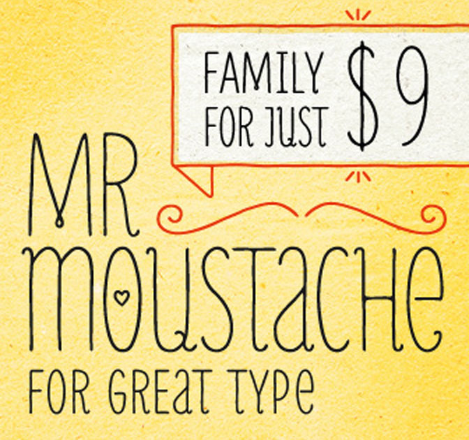 Mr Moustache Font Family (10 styles)- only $9!