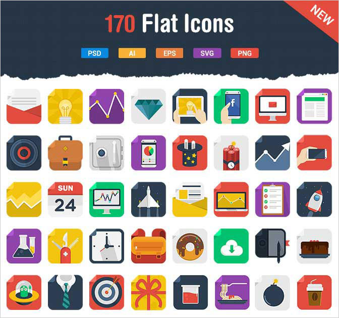 170 Colorful & Amusing Vector Square Flat Icons - only $8!