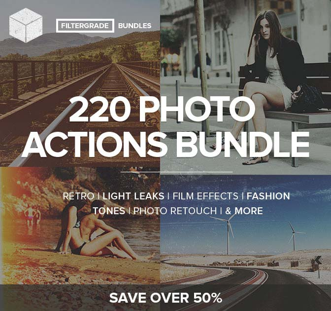 220 FilterGrade Photoshop Actions Bundle - only $24!