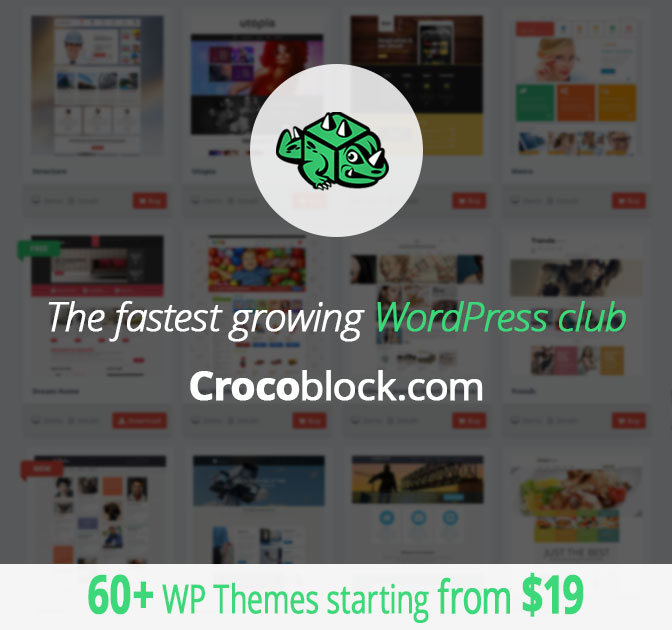 60+ CrocoBlock WordPress Themes <br />- only $19!