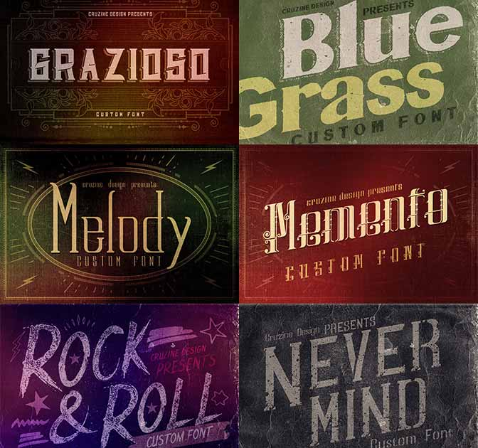 9 Classic, Vintage, Retro, Grunge Fonts - only $24!