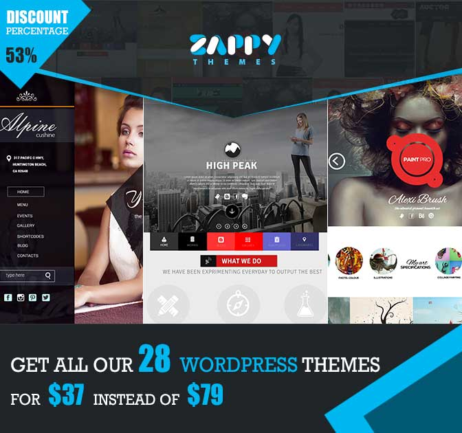 25+ Premium WordPress Themes from Zappy Themes - only $37!