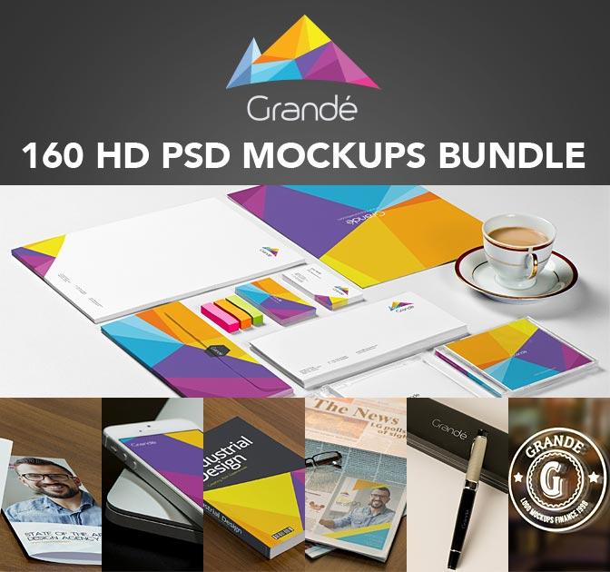 GRANDÉ BUNDLE: 160 PSD Mockups Bundle from Zippy Pixels - only $27!