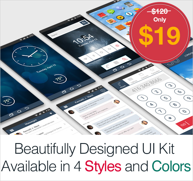 Inventicons' Gorgeous Mobile UI Kit - only $19!