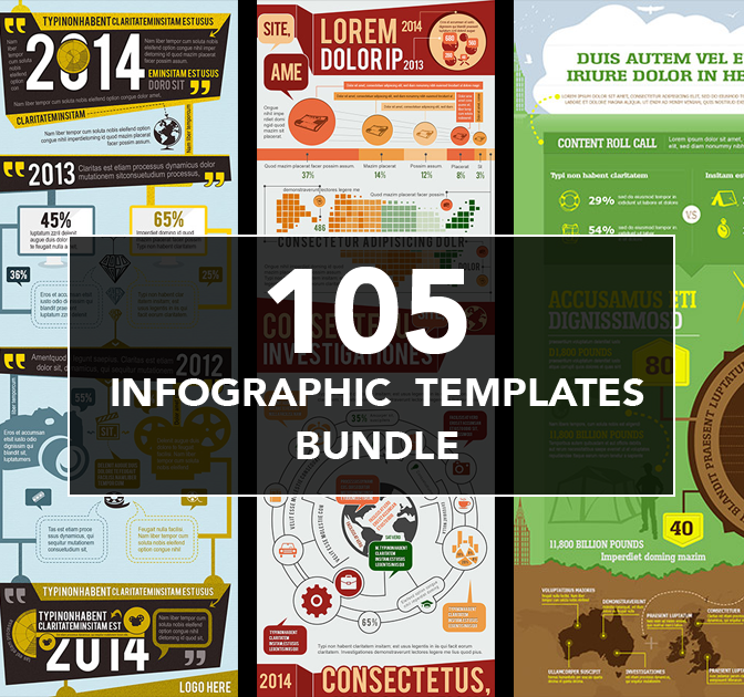 Mega Bundle of 105 Incredible Infographic Templates - only $27!