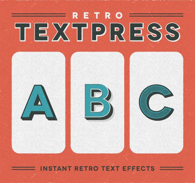 Retro Textpress: 20 Retro Text Effects for Illustrator - only $7!