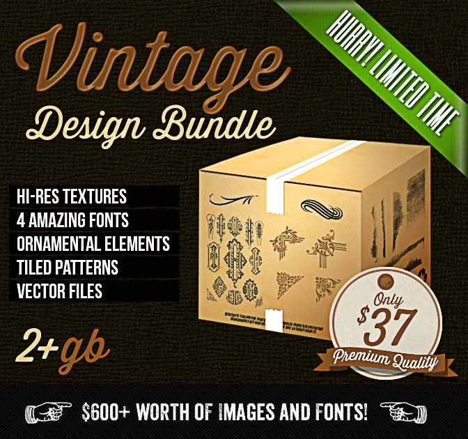 Colossal Vintage Design Bundle (worth $600) - only $37!