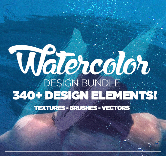 The Watercolor Design Bundle (300+ elements) - only $9!