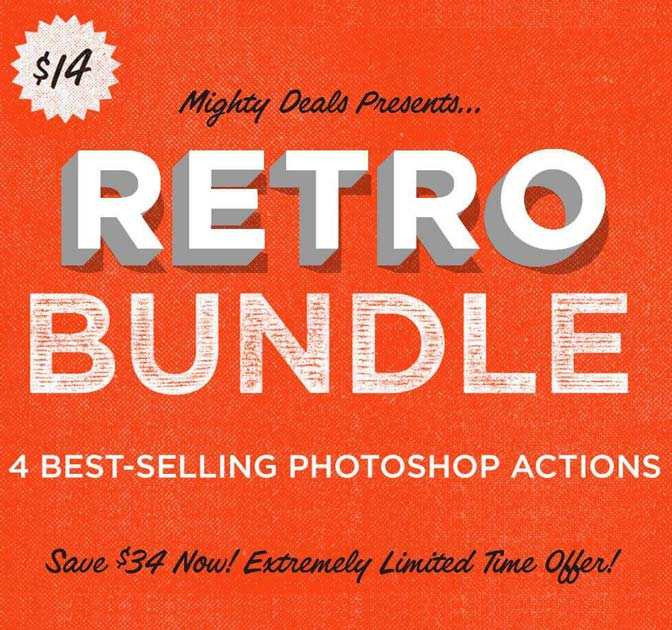 4 Best-Selling Retro Photoshop Actions - only $14!