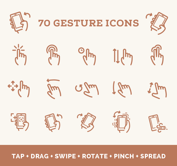 70 Professional Gesture Vector Icons From Web Icon Set - only $9!