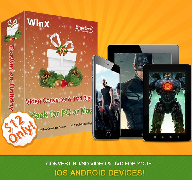 WinX Video Converter & iPad Ripper Pack for PC or Mac - only $12!