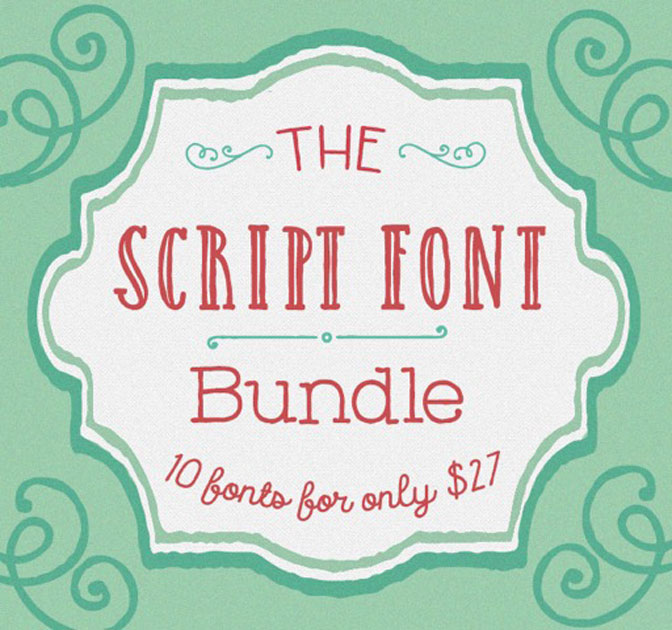 EXCLUSIVE Script Font Bundle: 10 Gorgeous Typefaces - only $27!