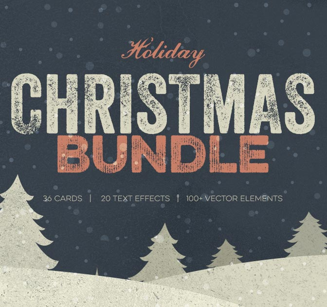 Mini Xmas Bundle: Greeting Cards, Text Effects & Vectors - only $12!