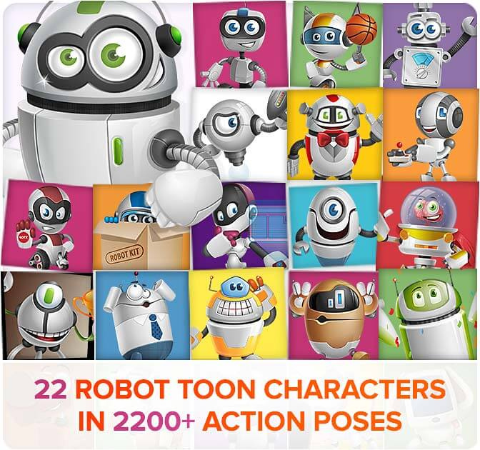22 Robot Toon Characters in 2200+ poses - only $24!