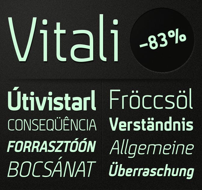 Vitali font: 4 Sans Serif Styles - only $5!