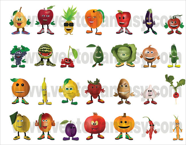 Fruits Vegetables Characters
